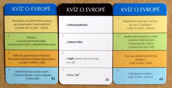 Kvíz o Evropě - karty