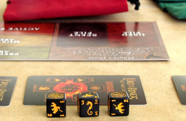 Lord of the Rings Dice Building Game - připravená hra