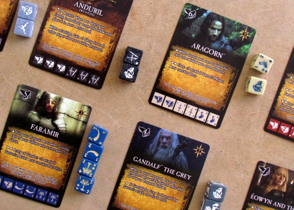 Lord of the Rings Dice Building Game - rozehraná hra