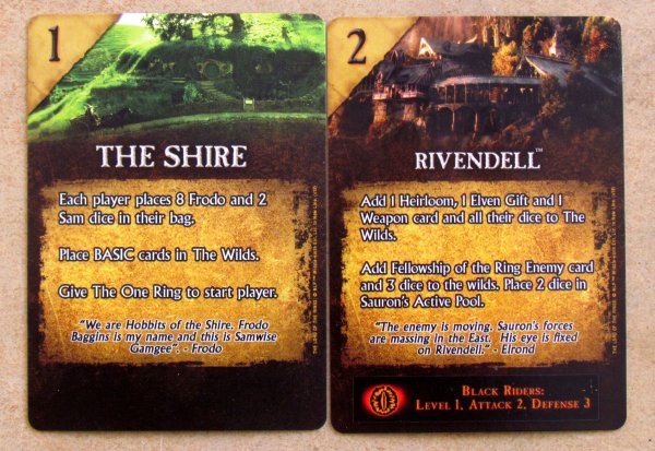 Lord of the Rings Dice Building Game - karty