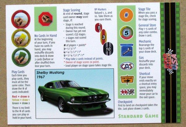 Road Rally USA - hráčská karta