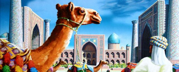 Review: Samarkand - Routes to Riches - camels and sand