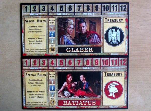 Spartacus: A Game of Blood and Treachery - player boards