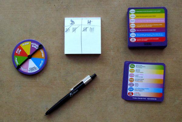 Tin-Tastic Trivia Game - rozehraná hra